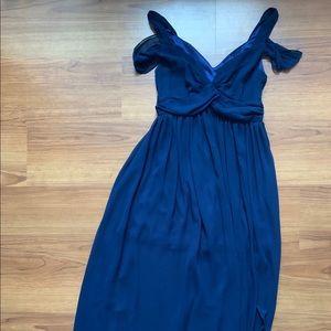 Floor length navy evening gown